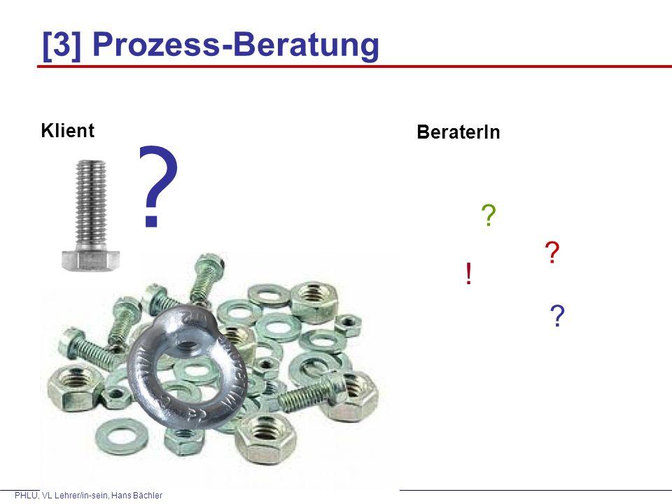 PHLU, VL Lehrer/in-sein, Hans Bächler [3] Prozess-Beratung Klient BeraterIn ? ? ! ? ?