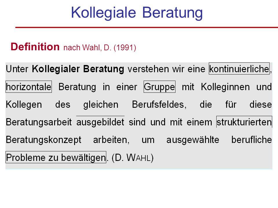 Kollegiale Beratung Definition nach Wahl, D. (1991)