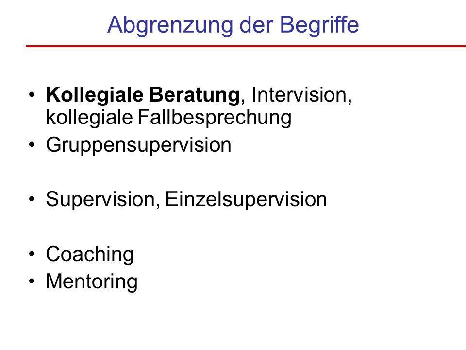 Abgrenzung der Begriffe Kollegiale Beratung, Intervision, kollegiale Fallbesprechung Gruppensupervision Supervision, Einzelsupervision Coaching Mentoring