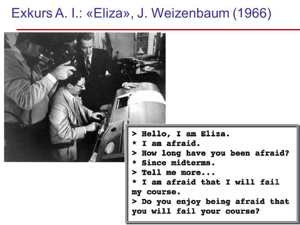 Exkurs A. I.: «Eliza», J. Weizenbaum (1966) Zuhören!!! Als erste Qualität Bild folgt