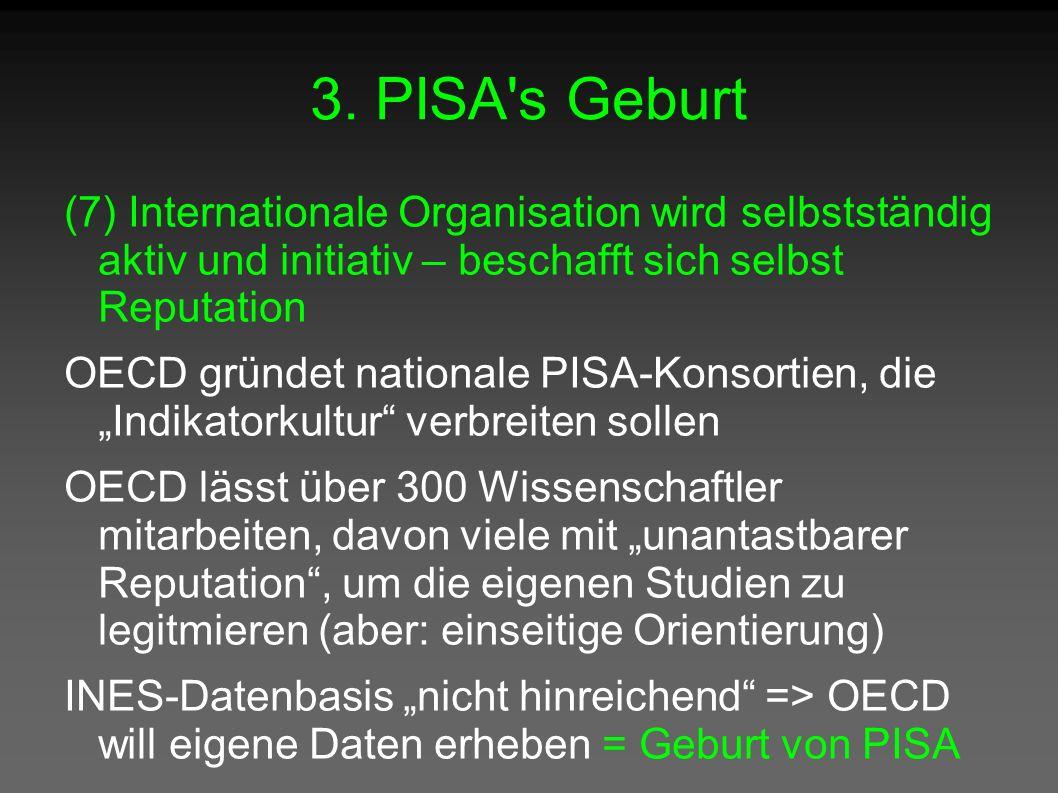3. PISA's Geburt (7) Internationale Organisation wird selbstständig aktiv und initiativ – beschafft sich selbst Reputation OECD gründet nationale PISA