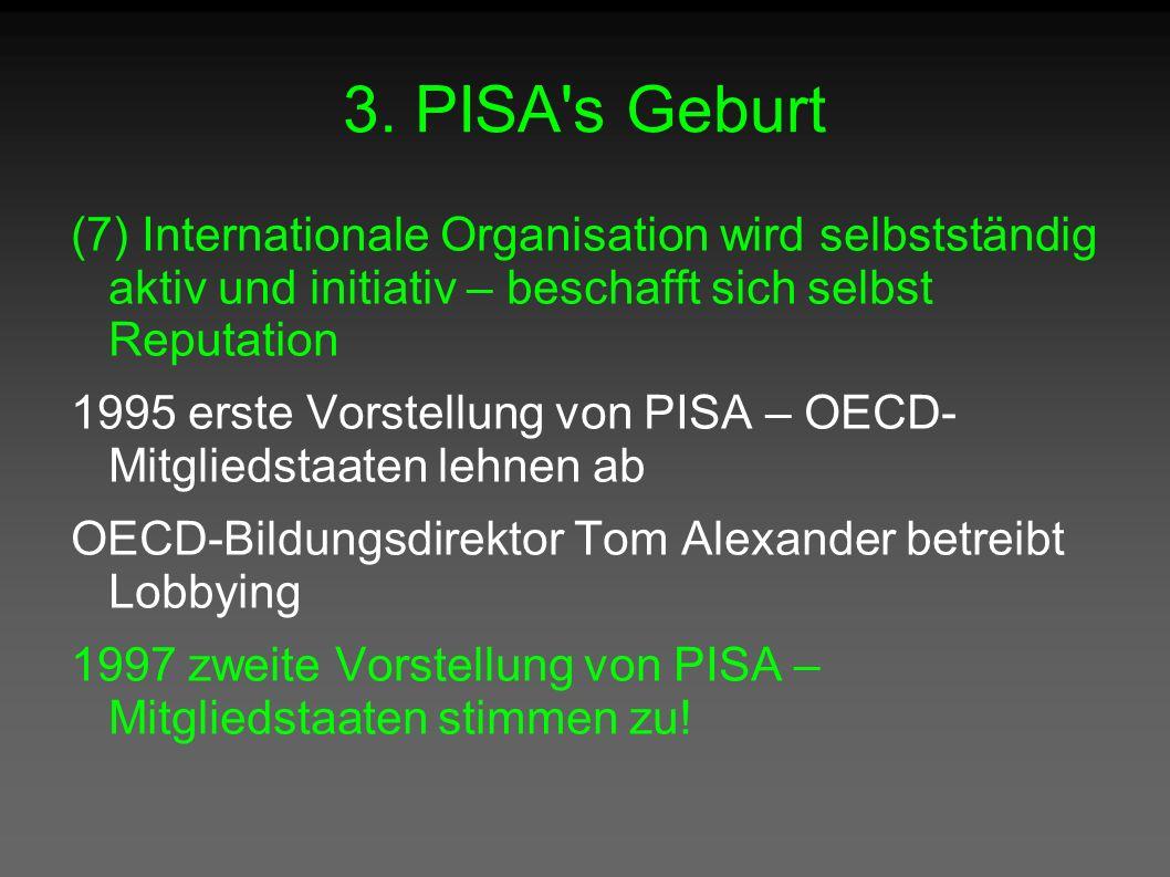 3. PISA's Geburt (7) Internationale Organisation wird selbstständig aktiv und initiativ – beschafft sich selbst Reputation 1995 erste Vorstellung von
