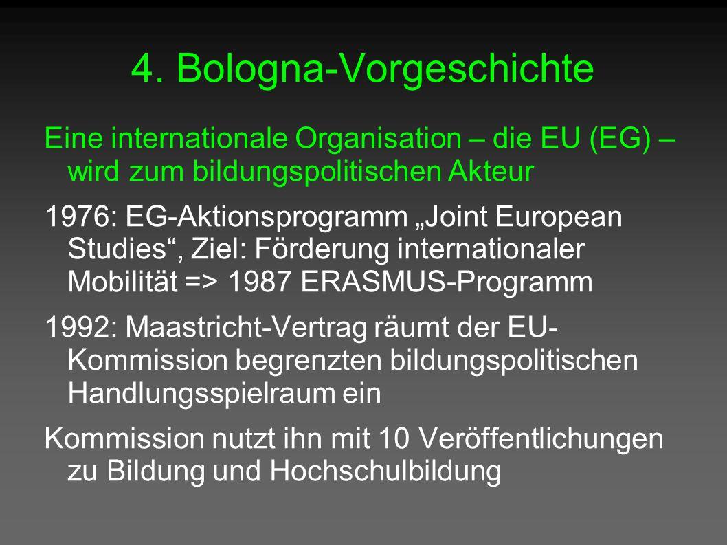"""4. Bologna-Vorgeschichte Eine internationale Organisation – die EU (EG) – wird zum bildungspolitischen Akteur 1976: EG-Aktionsprogramm """"Joint European"""