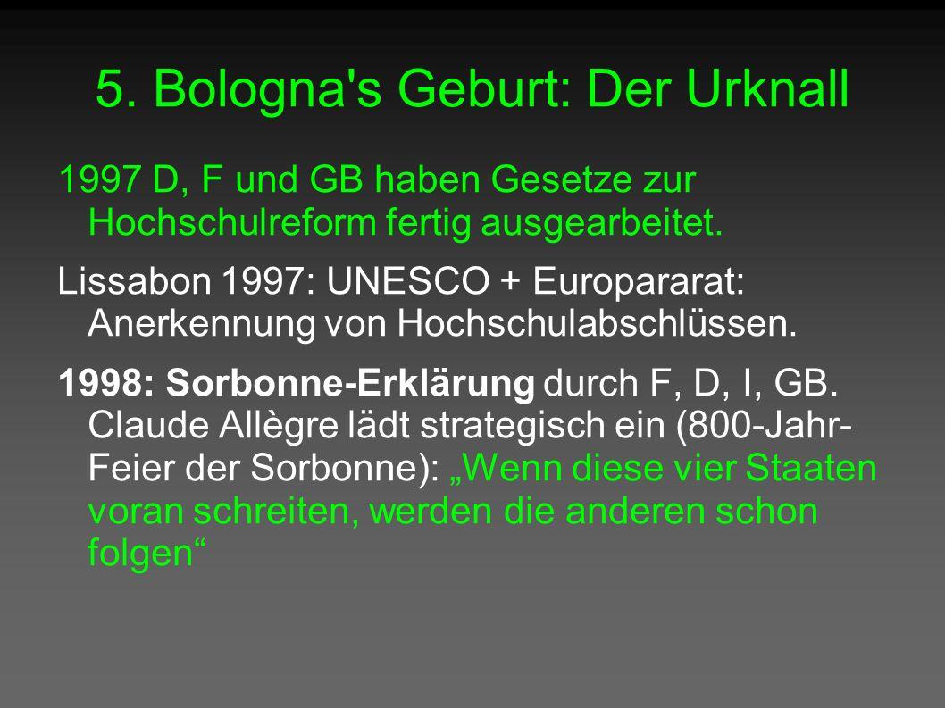5. Bologna's Geburt: Der Urknall 1997 D, F und GB haben Gesetze zur Hochschulreform fertig ausgearbeitet. Lissabon 1997: UNESCO + Europararat: Anerken