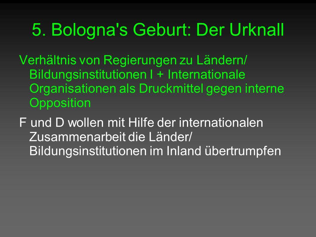 5. Bologna's Geburt: Der Urknall Verhältnis von Regierungen zu Ländern/ Bildungsinstitutionen I + Internationale Organisationen als Druckmittel gegen