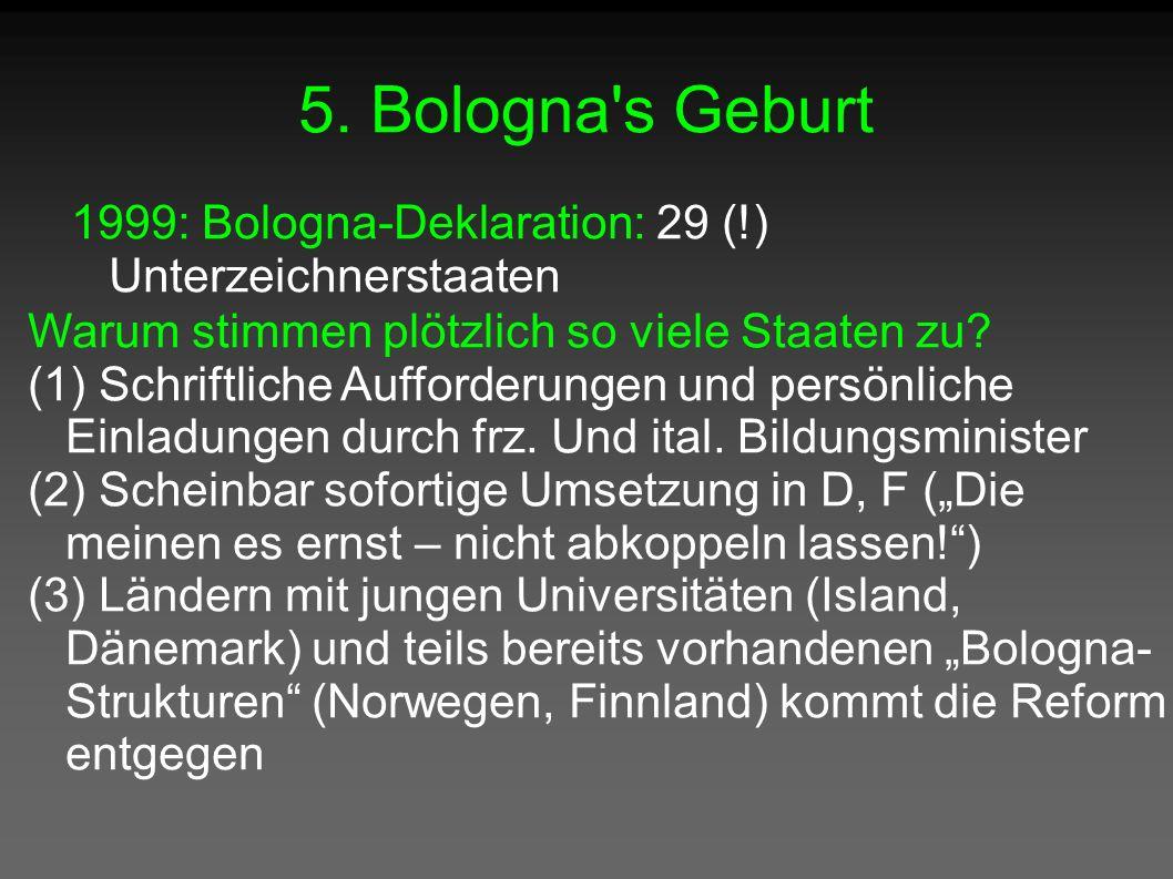 5. Bologna's Geburt 1999: Bologna-Deklaration: 29 (!) Unterzeichnerstaaten Warum stimmen plötzlich so viele Staaten zu? (1) Schriftliche Aufforderunge