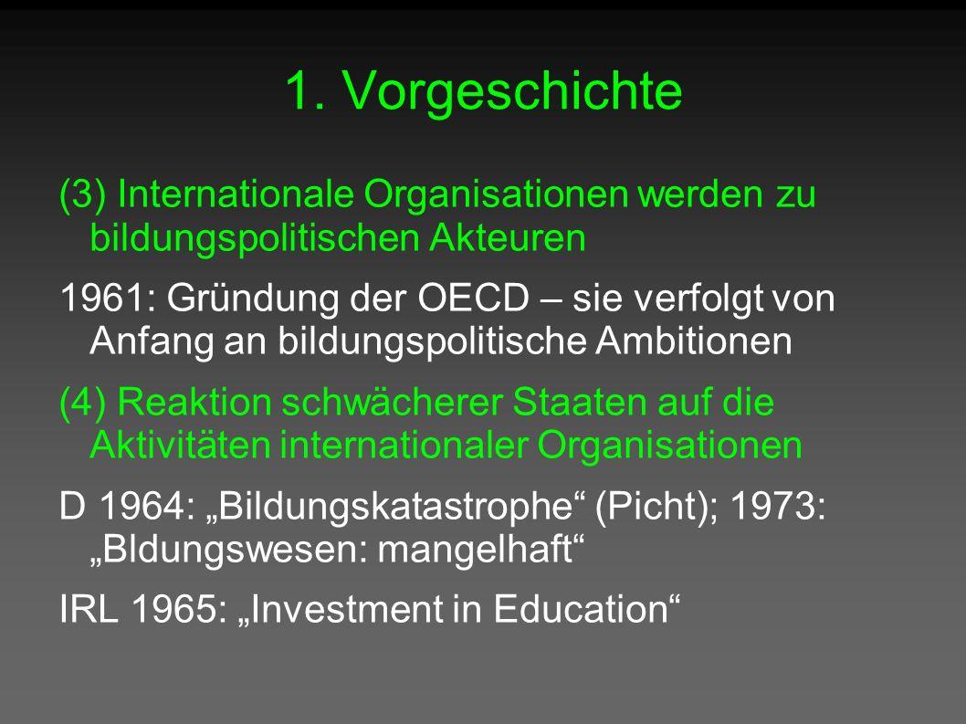 1. Vorgeschichte (3) Internationale Organisationen werden zu bildungspolitischen Akteuren 1961: Gründung der OECD – sie verfolgt von Anfang an bildung