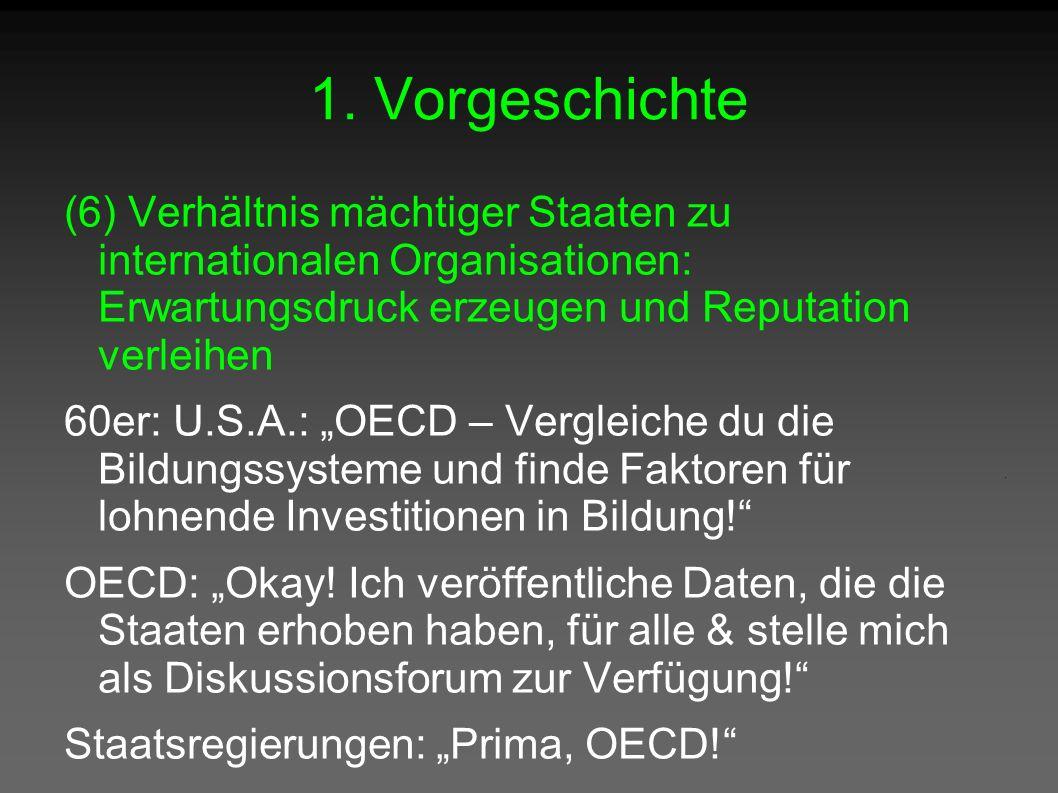 """1. Vorgeschichte (6) Verhältnis mächtiger Staaten zu internationalen Organisationen: Erwartungsdruck erzeugen und Reputation verleihen 60er: U.S.A.: """""""