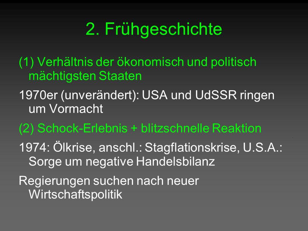 2. Frühgeschichte (1) Verhältnis der ökonomisch und politisch mächtigsten Staaten 1970er (unverändert): USA und UdSSR ringen um Vormacht (2) Schock-Er