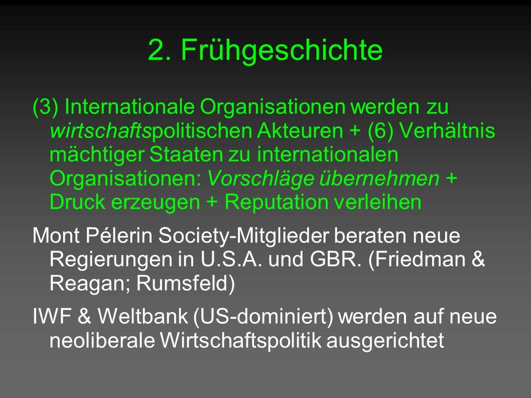 2. Frühgeschichte (3) Internationale Organisationen werden zu wirtschaftspolitischen Akteuren + (6) Verhältnis mächtiger Staaten zu internationalen Or