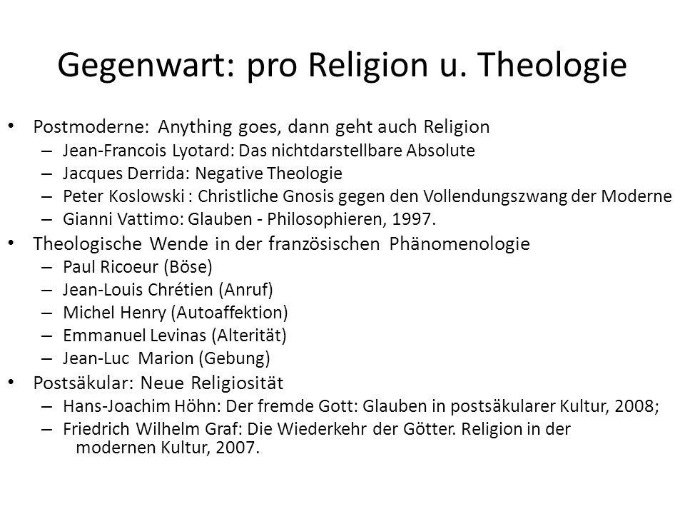 Gegenwart: pro Religion u. Theologie Postmoderne: Anything goes, dann geht auch Religion – Jean-Francois Lyotard: Das nichtdarstellbare Absolute – Jac
