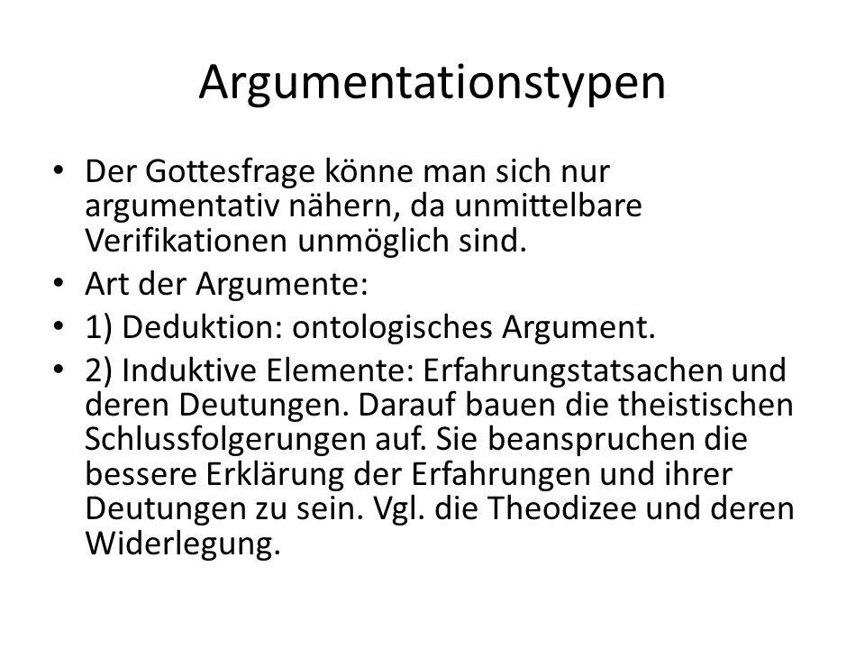Argumentationstypen Der Gottesfrage könne man sich nur argumentativ nähern, da unmittelbare Verifikationen unmöglich sind. Art der Argumente: 1) Deduk