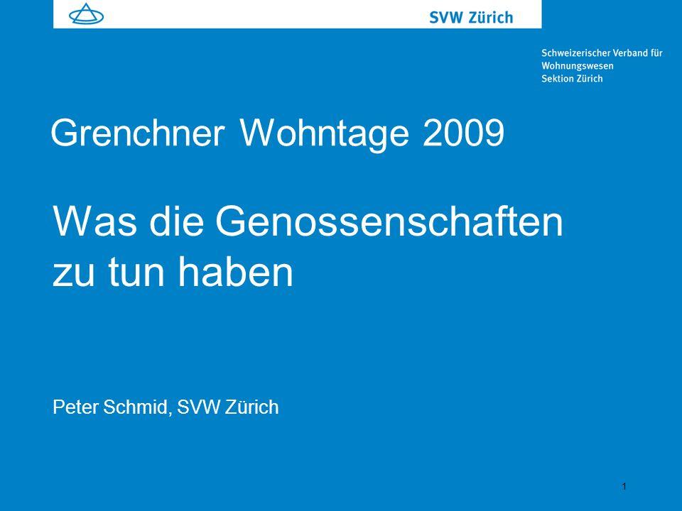 1 Was die Genossenschaften zu tun haben Peter Schmid, SVW Zürich Grenchner Wohntage 2009