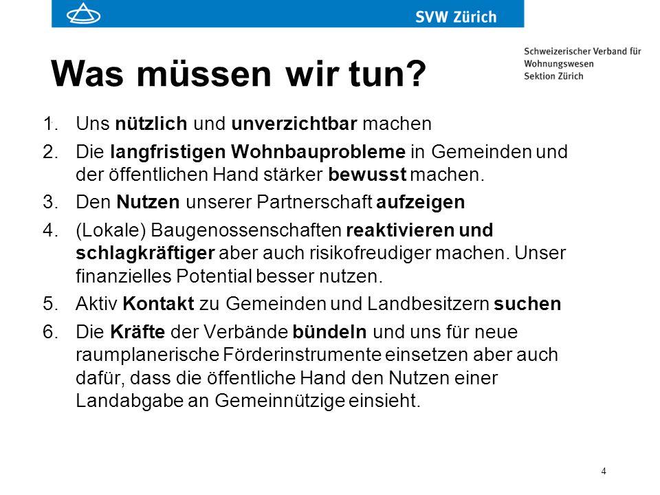 5 Was wir tun in Zürich 1.Heutige Partnerschaften pflegen (insb.