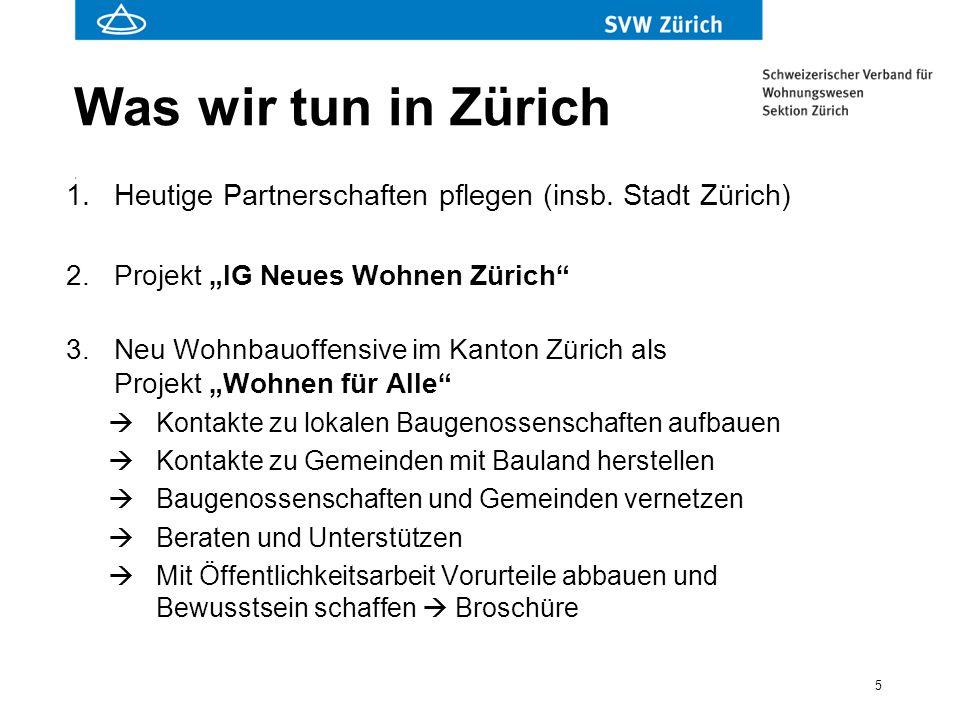 """5 Was wir tun in Zürich 1.Heutige Partnerschaften pflegen (insb. Stadt Zürich) 2.Projekt """"IG Neues Wohnen Zürich"""" 3.Neu Wohnbauoffensive im Kanton Zür"""