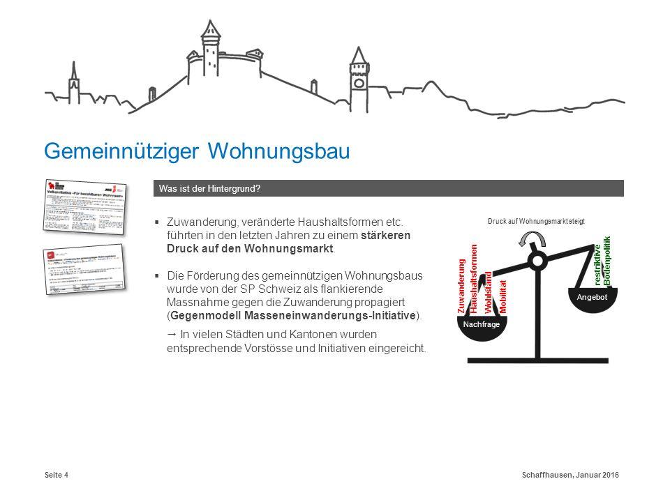 Schaffhausen, Januar 2016Seite 4 Was ist der Hintergrund? Gemeinnütziger Wohnungsbau  Zuwanderung, veränderte Haushaltsformen etc. führten in den let