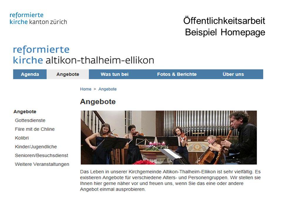 Öffentlichkeitsarbeit Beispiel Homepage