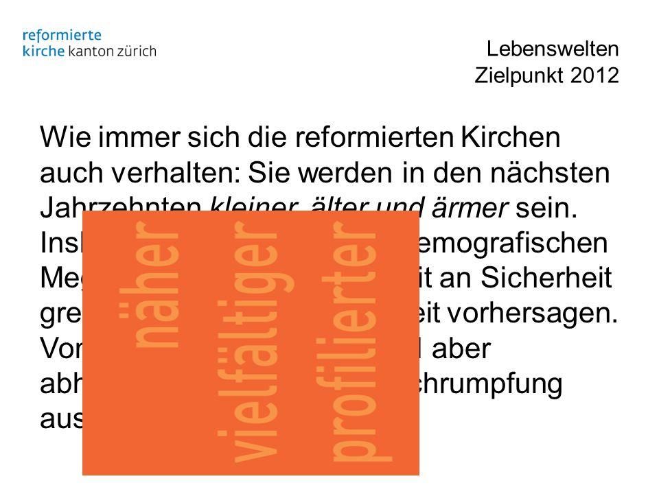 Lebenswelten Zielpunkt 2012 Wie immer sich die reformierten Kirchen auch verhalten: Sie werden in den nächsten Jahrzehnten kleiner, älter und ärmer se