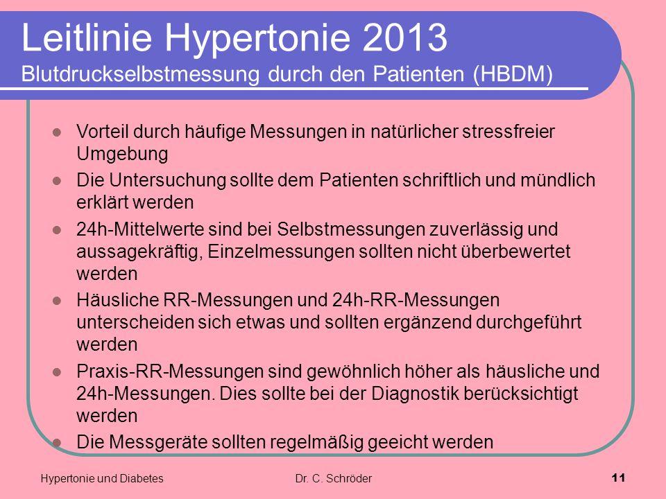 Leitlinie Hypertonie 2013 Blutdruckselbstmessung durch den Patienten (HBDM) Vorteil durch häufige Messungen in natürlicher stressfreier Umgebung Die U