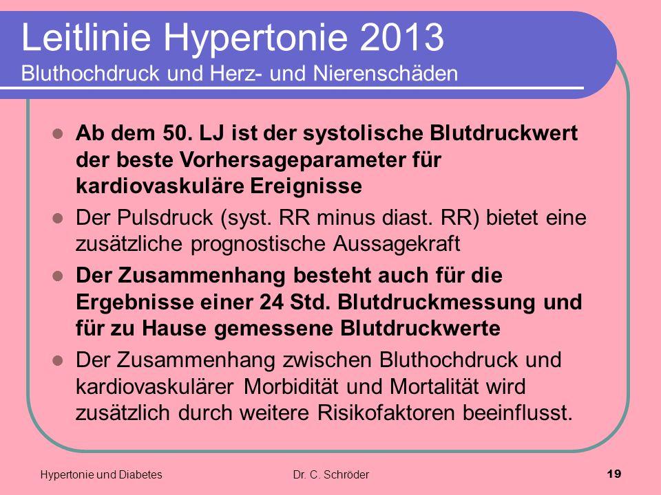 Leitlinie Hypertonie 2013 Bluthochdruck und Herz- und Nierenschäden Ab dem 50. LJ ist der systolische Blutdruckwert der beste Vorhersageparameter für
