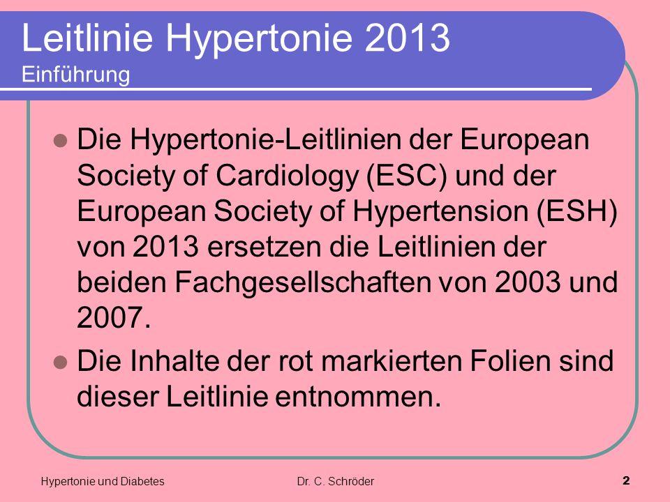 Leitlinie Hypertonie 2013 Einführung Die Hypertonie-Leitlinien der European Society of Cardiology (ESC) und der European Society of Hypertension (ESH) von 2013 ersetzen die Leitlinien der beiden Fachgesellschaften von 2003 und 2007.