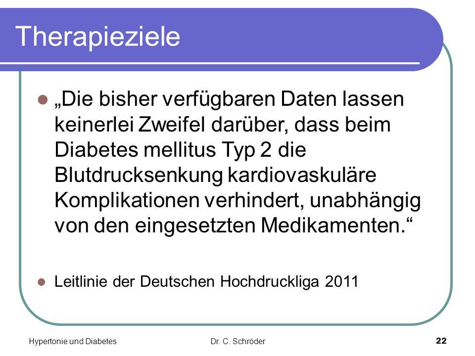 """Therapieziele """"Die bisher verfügbaren Daten lassen keinerlei Zweifel darüber, dass beim Diabetes mellitus Typ 2 die Blutdrucksenkung kardiovaskuläre Komplikationen verhindert, unabhängig von den eingesetzten Medikamenten. Leitlinie der Deutschen Hochdruckliga 2011 Dr."""