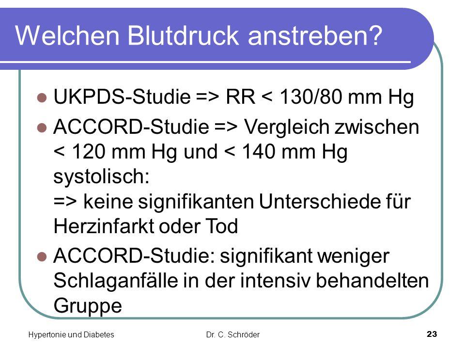 Welchen Blutdruck anstreben? UKPDS-Studie => RR < 130/80 mm Hg ACCORD-Studie => Vergleich zwischen keine signifikanten Unterschiede für Herzinfarkt od