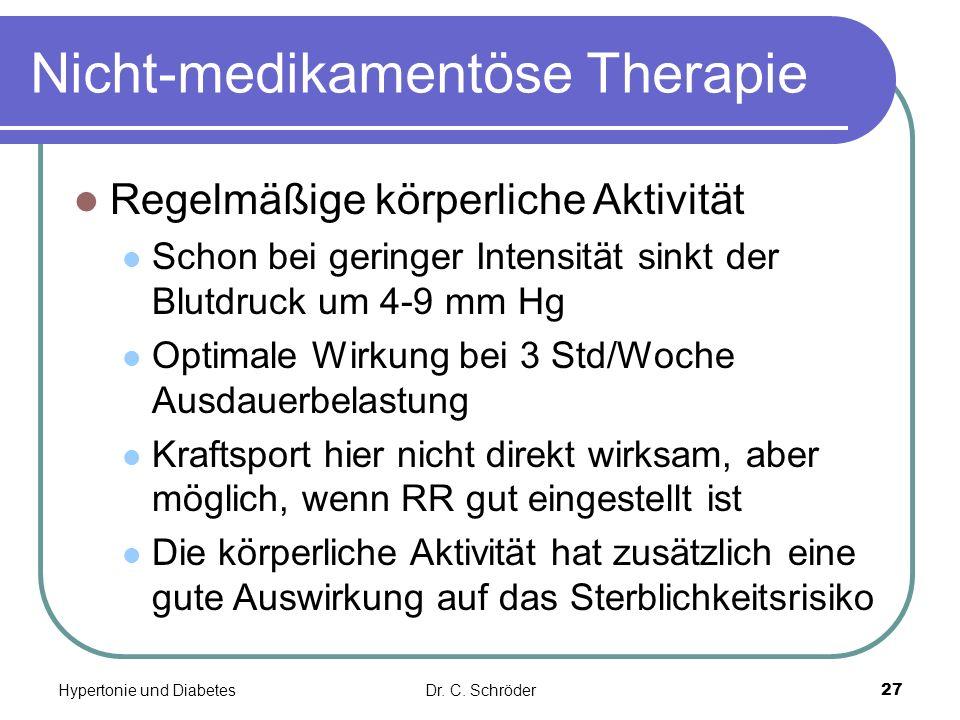 Nicht-medikamentöse Therapie Regelmäßige körperliche Aktivität Schon bei geringer Intensität sinkt der Blutdruck um 4-9 mm Hg Optimale Wirkung bei 3 S