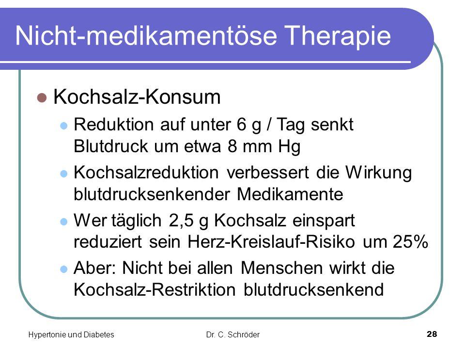Nicht-medikamentöse Therapie Kochsalz-Konsum Reduktion auf unter 6 g / Tag senkt Blutdruck um etwa 8 mm Hg Kochsalzreduktion verbessert die Wirkung bl