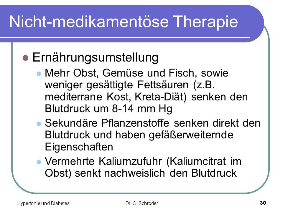 Nicht-medikamentöse Therapie Ernährungsumstellung Mehr Obst, Gemüse und Fisch, sowie weniger gesättigte Fettsäuren (z.B. mediterrane Kost, Kreta-Diät)