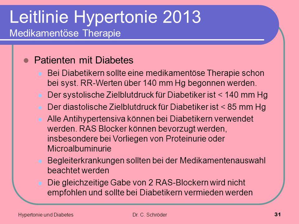 Leitlinie Hypertonie 2013 Medikamentöse Therapie Patienten mit Diabetes Bei Diabetikern sollte eine medikamentöse Therapie schon bei syst. RR-Werten ü