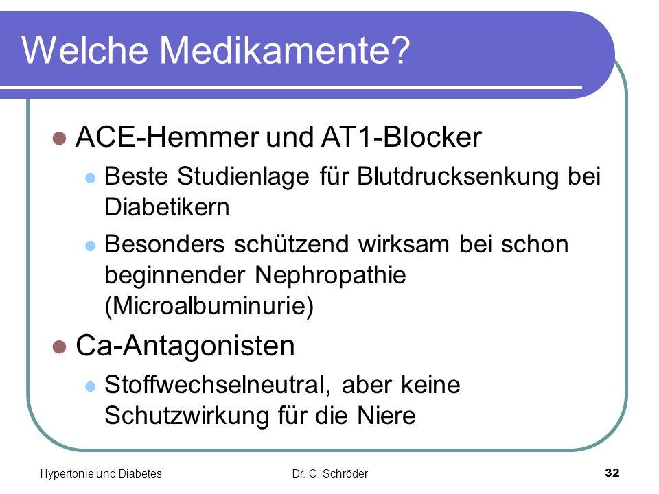 Welche Medikamente? ACE-Hemmer und AT1-Blocker Beste Studienlage für Blutdrucksenkung bei Diabetikern Besonders schützend wirksam bei schon beginnende