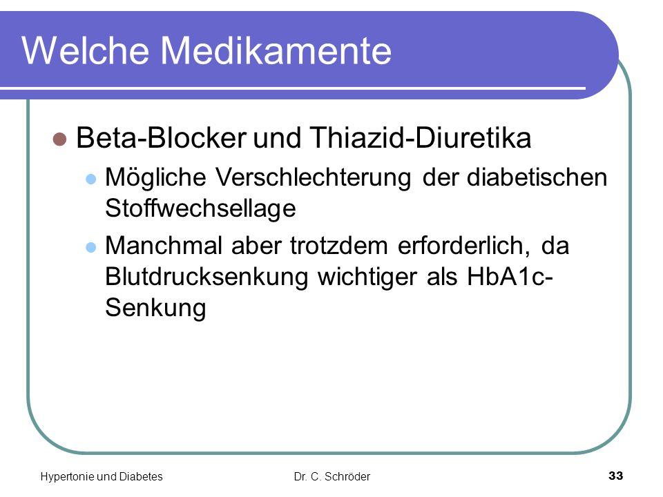 Welche Medikamente Beta-Blocker und Thiazid-Diuretika Mögliche Verschlechterung der diabetischen Stoffwechsellage Manchmal aber trotzdem erforderlich, da Blutdrucksenkung wichtiger als HbA1c- Senkung Dr.