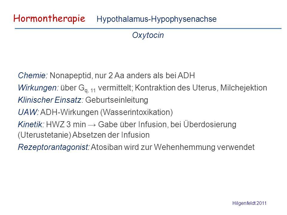 Hormontherapie Hilgenfeldt 2011 Hypothalamus-Hypophysenachse Oxytocin Chemie: Nonapeptid, nur 2 Aa anders als bei ADH Wirkungen: über G q, 11 vermittelt; Kontraktion des Uterus, Milchejektion Klinischer Einsatz: Geburtseinleitung UAW: ADH-Wirkungen (Wasserintoxikation) Kinetik: HWZ 3 min → Gabe über Infusion, bei Überdosierung (Uterustetanie) Absetzen der Infusion Rezeptorantagonist: Atosiban wird zur Wehenhemmung verwendet