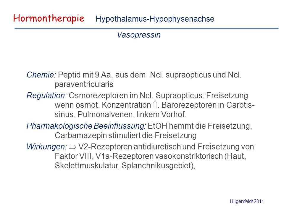 Hormontherapie Hilgenfeldt 2011 Hypothalamus-Hypophysenachse Vasopressin Chemie: Peptid mit 9 Aa, aus dem Ncl.
