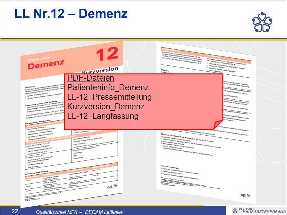 Titelmasterformat durch Klicken bearbeiten  Textmasterformate durch Klicken bearbeiten  Zweite Ebene  Dritte Ebene –Vierte Ebene »Fünfte Ebene 22 Qualitätszirkel MFA – DEGAM-Leitlinien PDF-Dateien Patienteninfo_Demenz LL-12_Pressemitteilung Kurzversion_Demenz LL-12_Langfassung LL Nr.12 – Demenz