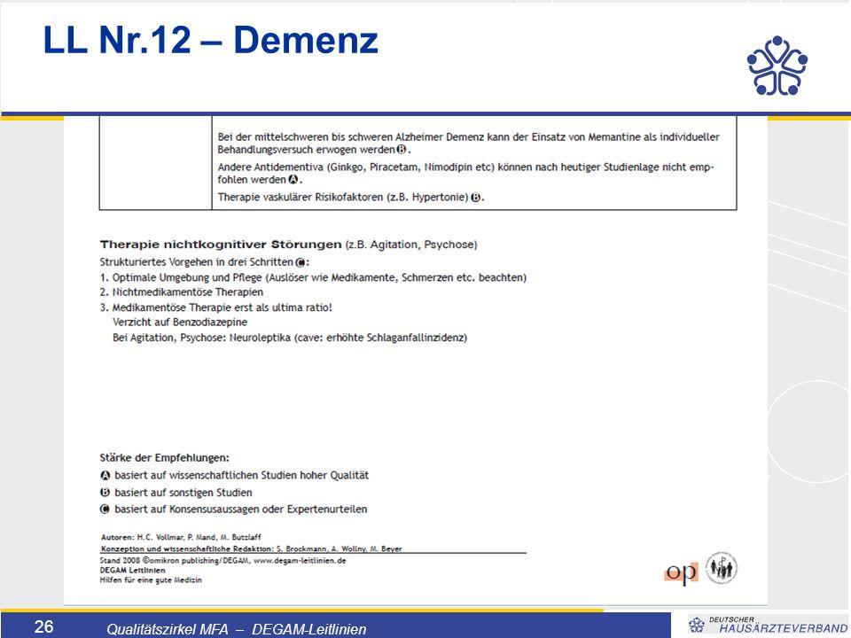 Titelmasterformat durch Klicken bearbeiten  Textmasterformate durch Klicken bearbeiten  Zweite Ebene  Dritte Ebene –Vierte Ebene »Fünfte Ebene 26 Qualitätszirkel MFA – DEGAM-Leitlinien LL Nr.12 – Demenz
