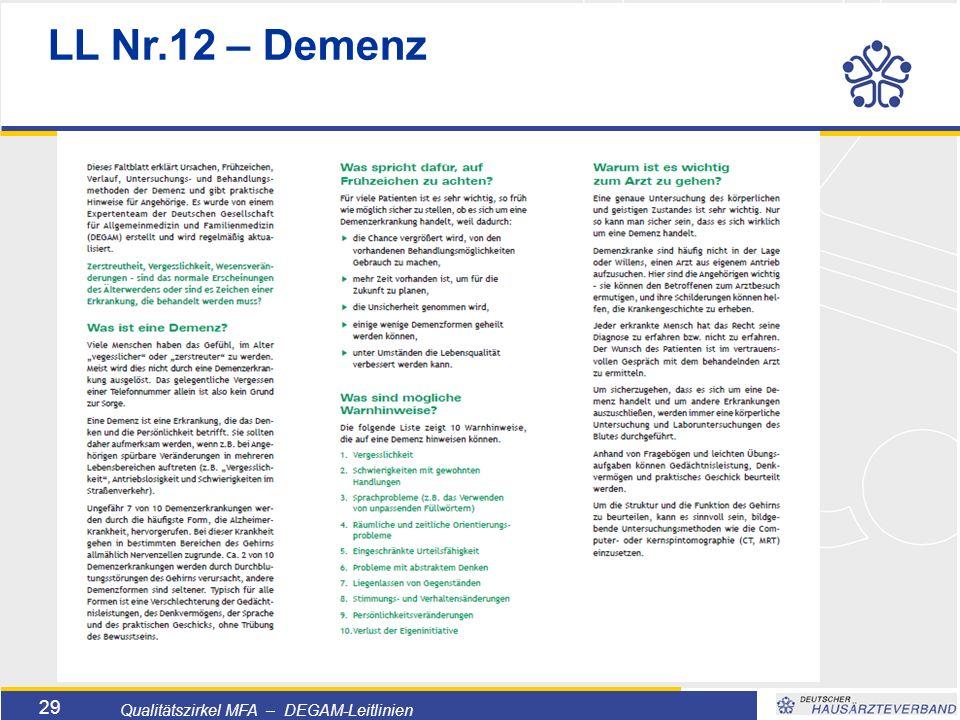 Titelmasterformat durch Klicken bearbeiten  Textmasterformate durch Klicken bearbeiten  Zweite Ebene  Dritte Ebene –Vierte Ebene »Fünfte Ebene 29 Qualitätszirkel MFA – DEGAM-Leitlinien LL Nr.12 – Demenz