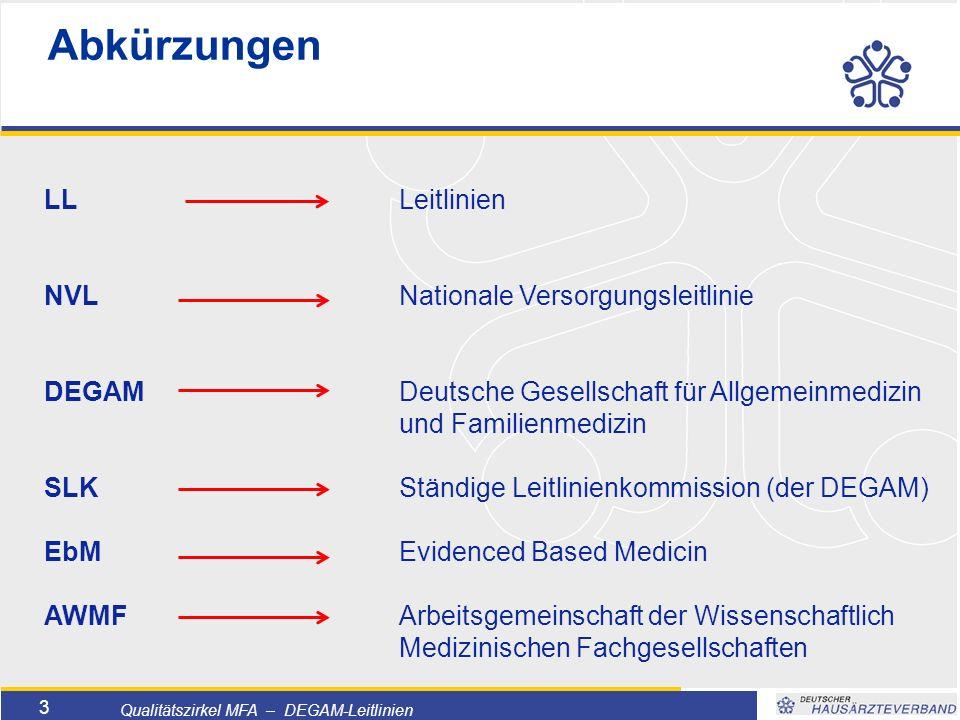 """Titelmasterformat durch Klicken bearbeiten  Textmasterformate durch Klicken bearbeiten  Zweite Ebene  Dritte Ebene –Vierte Ebene »Fünfte Ebene 4 Qualitätszirkel MFA – DEGAM-Leitlinien  evidence-based medicine """"auf Beweismaterial gestützte Heilkunde Evidenzbasierte Medizin  Individuelle patientenorientierte Entscheidungen  Bestmögliche Versorgung  Grundlage: Beste zur Verfügung stehende Daten EbM"""