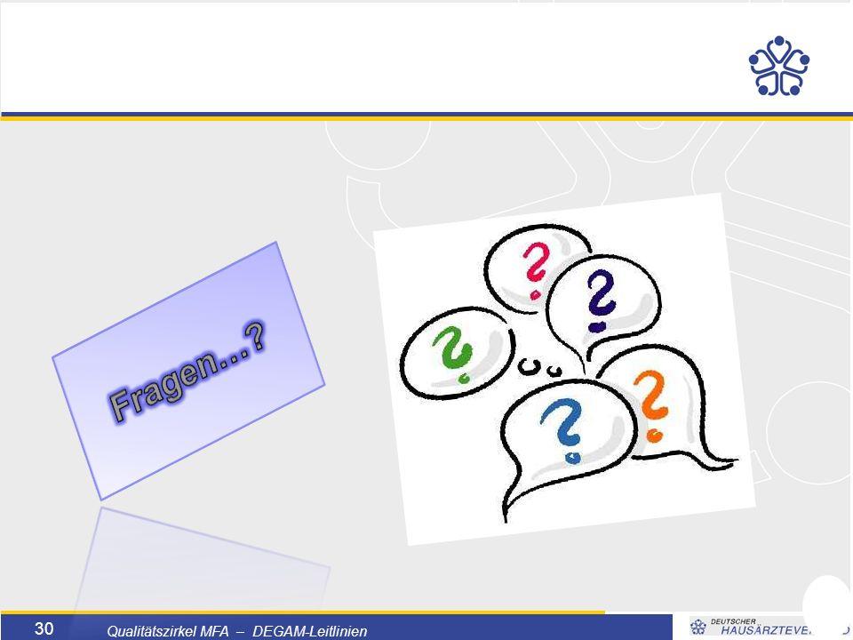 Titelmasterformat durch Klicken bearbeiten  Textmasterformate durch Klicken bearbeiten  Zweite Ebene  Dritte Ebene –Vierte Ebene »Fünfte Ebene 30 Qualitätszirkel MFA – DEGAM-Leitlinien