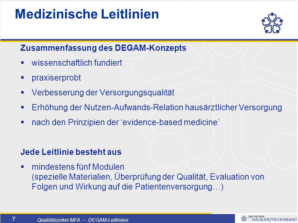 Titelmasterformat durch Klicken bearbeiten  Textmasterformate durch Klicken bearbeiten  Zweite Ebene  Dritte Ebene –Vierte Ebene »Fünfte Ebene 28 Qualitätszirkel MFA – DEGAM-Leitlinien LL Nr.12 – Demenz