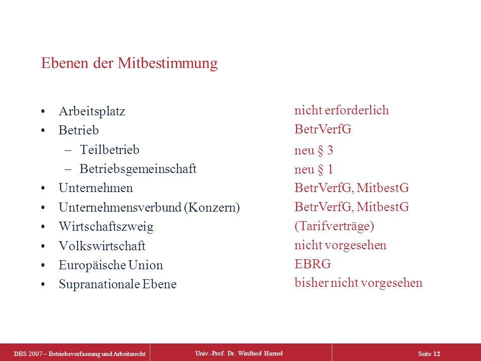 DBS 2007 – Betriebsverfassung und Arbeitsrecht Univ.-Prof.
