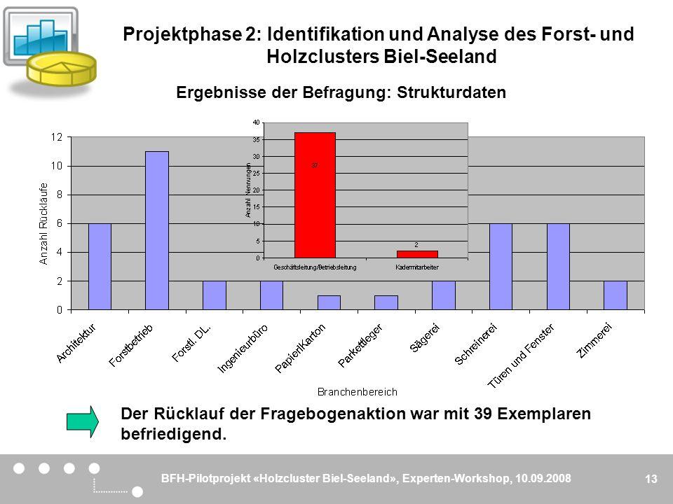 BFH-Pilotprojekt «Holzcluster Biel-Seeland», Experten-Workshop, 10.09.2008 13 Ergebnisse der Befragung: Strukturdaten Der Rücklauf der Fragebogenaktio