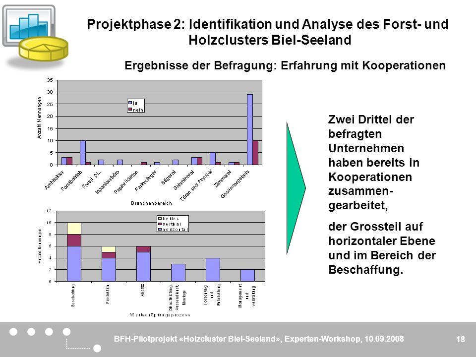 BFH-Pilotprojekt «Holzcluster Biel-Seeland», Experten-Workshop, 10.09.2008 18 Ergebnisse der Befragung: Erfahrung mit Kooperationen Zwei Drittel der b