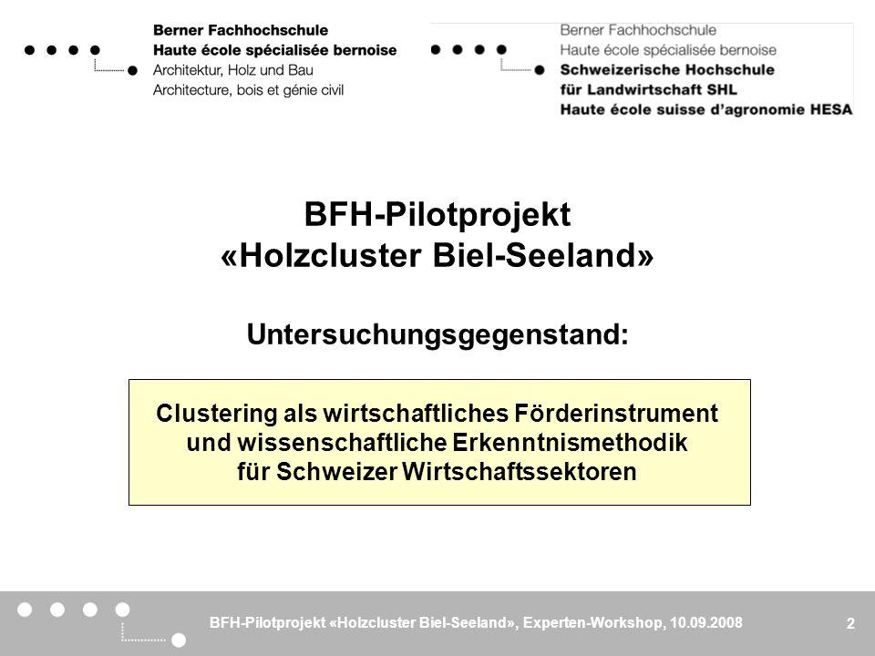 BFH-Pilotprojekt «Holzcluster Biel-Seeland», Experten-Workshop, 10.09.2008 3 Ziel Diskussion und Evaluation der Clusteridee mit Experten aus der Region und dem nahen Ausland Ablauf 14:00Begrüssung 14:05 Präsentation des BFH-Pilotprojekts 14:30 Workshop-Phase, Teil I Kaffeepause 15:20 Workshop-Phase, Teil II 16:20 Synthese und Abschluss 17:00 Apéro Der heutige Experten-Workshop