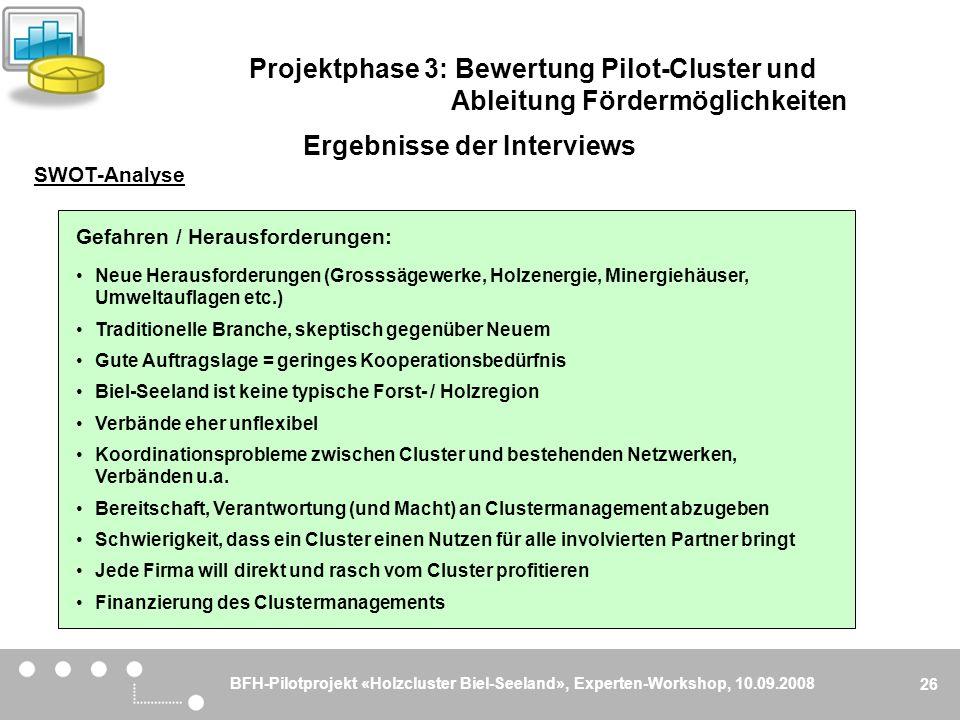 BFH-Pilotprojekt «Holzcluster Biel-Seeland», Experten-Workshop, 10.09.2008 26 Gefahren / Herausforderungen: Neue Herausforderungen (Grosssägewerke, Ho