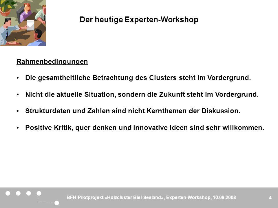 BFH-Pilotprojekt «Holzcluster Biel-Seeland», Experten-Workshop, 10.09.2008 5 Der heutige Experten-Workshop Anwesende Fachpersonen Herr Heinz Spychiger, Feldmann + Co.