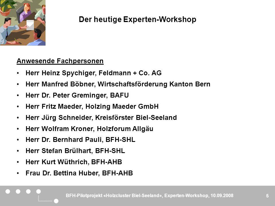BFH-Pilotprojekt «Holzcluster Biel-Seeland», Experten-Workshop, 10.09.2008 5 Der heutige Experten-Workshop Anwesende Fachpersonen Herr Heinz Spychiger