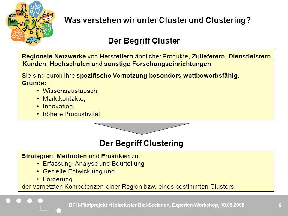 BFH-Pilotprojekt «Holzcluster Biel-Seeland», Experten-Workshop, 10.09.2008 6 Der Begriff Cluster Regionale Netzwerke von Herstellern ähnlicher Produkt
