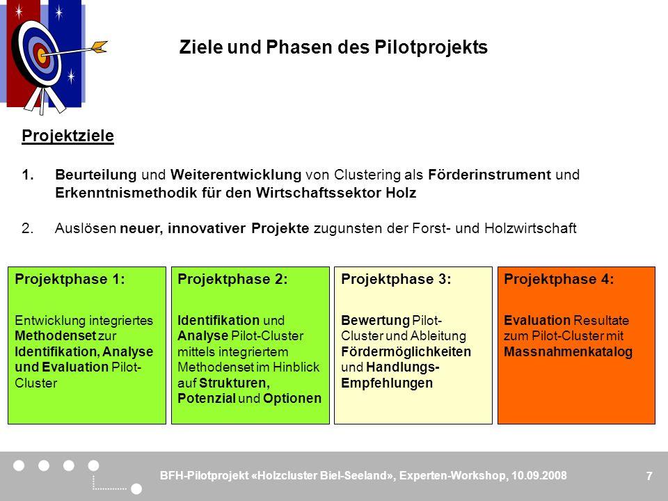 BFH-Pilotprojekt «Holzcluster Biel-Seeland», Experten-Workshop, 10.09.2008 7 Ziele und Phasen des Pilotprojekts Projektphase 1: Entwicklung integriert